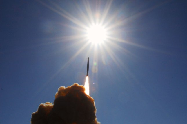 A ground-based interceptor lifts off from Vandenberg Air Force Base in California in 2008. Boeing has been awarded a $265.2 million contract to upgrade the Ground-based Midscourse Defense system. Photo by Joe Davila/U.S. Navy