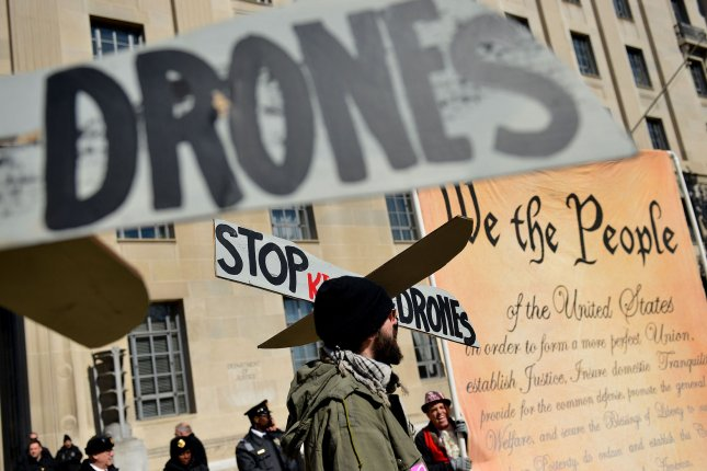 Members of CodePink protest the Obama administration's use of drone strikes in front of the Department of Justice on February 21, 2013 in Washington, D.C. UPI/Kevin Dietsch