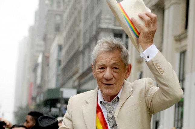 The Dresser star Ian McKellen tips his hat as he rides in the 2015 NYC Gay Pride March in New York City on June 28, 2015. File photo by Dennis Van Tine/UPI