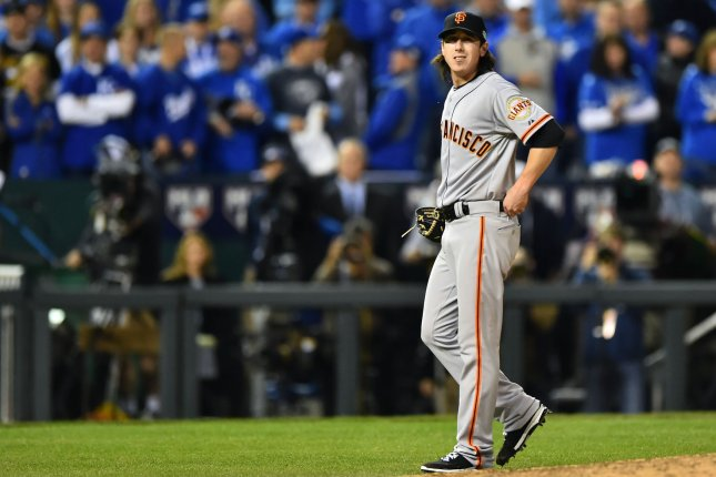 Former San Francisco Giants pitcher Tim Lincecum injured something in his lower body pitching against the Kansas City Royals during the eighth inning in game 2 of the World Series at Kaufman Stadium in Kansas City, Missouri on October 22, 2014. UPI/Kevin Dietsch