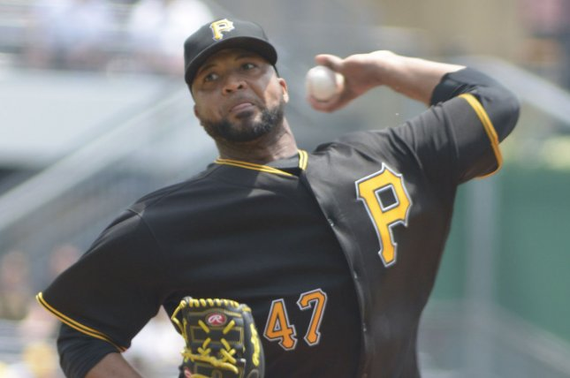 Former Pittsburgh Pirates starting pitcher Francisco Liriano (47) throws against the Los Angeles Dodgers at PNC Park on June 27, 2016 in Pittsburgh. Photo by Archie Carpenter/UPI