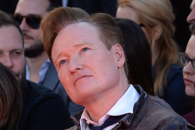 Conan O'Brien attends The Hunger Games: Mockingjay -- Part 2 cast hand and footprint ceremony in the forecourt of TCL Chinese Theatre in Los Angeles on October 31, 2015. The talk show host is taping a special in Mexico City to air on TBS on March 1. File Photo by Jim Ruymen/UPI