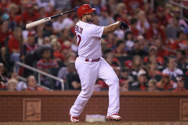 St. Louis Cardinals' Jhonny Peralta watches a fly ball. File photo by Bill Greenblatt/UPI