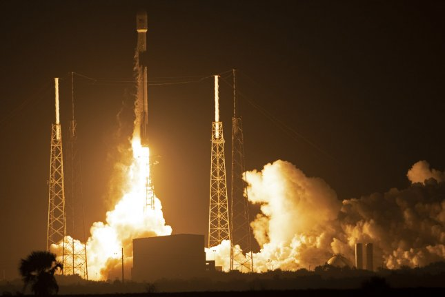A SpaceX Falcon 9 rocket lifts off at 8:45 PM from Launch Complex 40 at the Cape Canaveral Air Force Station, Fla. on Thursday. Photo by Joe Marino-Bill Cantrell/UPI