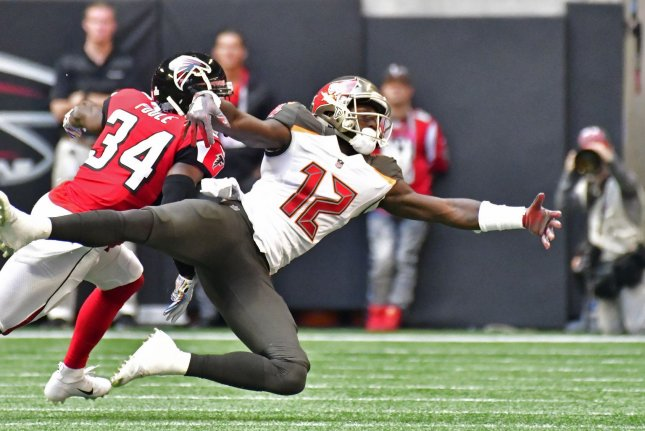 Tampa Bay Buccaneers wide receiver Chris Godwin (12) is tied for a league-leading four receiving touchdowns and has the third-most receiving yards (386) in the NFL this season. File Photo by David Tulis/UPI