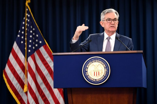Federal Reserve Chairman Jerome Powell speaks to reporters about making an emergency interest rate cut as a response to the coronavirus pandemic, in Washington, D.C., on March 3. File Photo by Kevin Dietsch/UPI