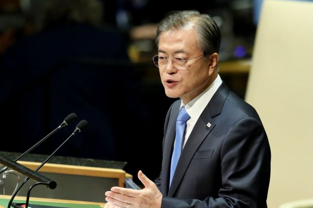 South Korea President Moon Jae-in reaffirmed his commitment to diplomacy with North Korea on Thursday in a New Year's speech addressing the COVID-19 pandemic. File Photo by Monika Graff/UPI