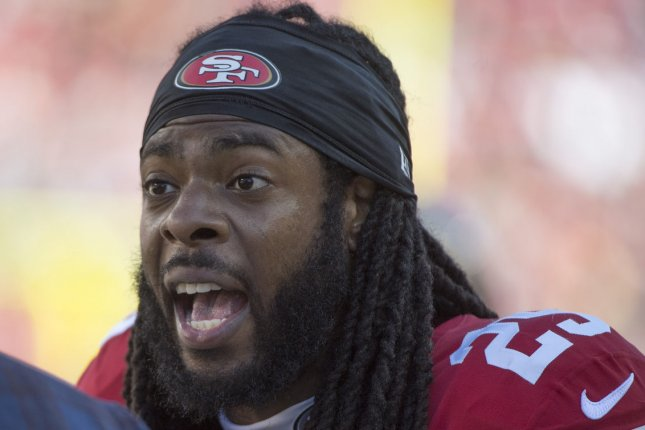 Free agent cornerback Richard Sherman was released from jail Thursday and was scheduled to appear in court Friday in Seattle. File Photo by Terry Schmitt/UPI