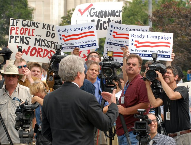 Paul Helmke, president of the Brady Campaign for gun control, speaks to reporters in front of the Supreme Court in Washington after the Court struck down the DC handgun ban on June 26, 2008. The Supreme Court, in a 5-4 ruling, affirmed the rights of individuals to own firearms, but the decision should leave most gun laws and regulations intact. (UPI Photo/Roger L. Wollenberg)
