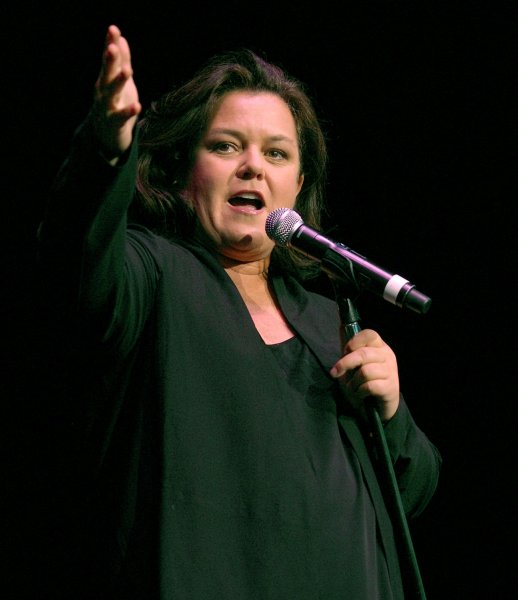 Rosie O'Donnell performs a standup routine onstage as part of Cyndi Lauper's second annual gay, lesbian and transgender-friendly True Colors tour at the Molson Amphitheatre in Toronto, Canada on June 4, 2008. (UPI Photo/Christine Chew)