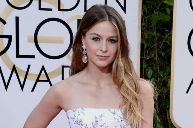 Melissa Benoist at the Golden Globe Awards on January 10. The actress stars in Supergirl. File Photo by Jim Ruymen/UPI