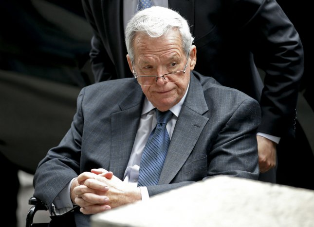 Former U.S. House Speaker Dennis Hastert leaves federal court after his sentencing hearing in Chicago on April 27, 2016, after he pleaded guilty to breaking banking laws when he made illegal withdrawals to use as hush money payments to an unnamed individual, who was an alleged victim of sexual molestation. On Friday another alleged sexual abuse victim filed a lawsuit, saying he was sodomized by Hastert in the 1970s. File Photo by Kamil Krzaczynski/UPI
