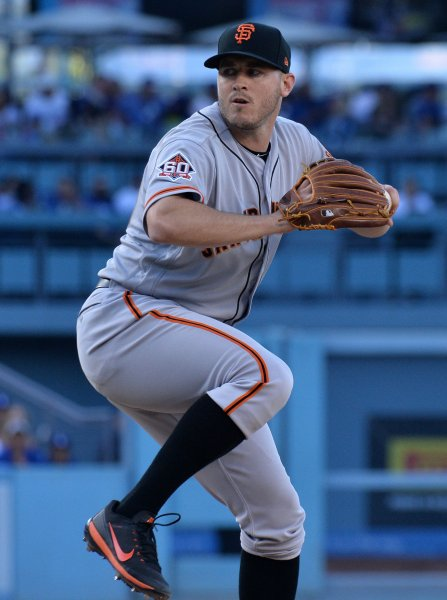 Ty Blach and the San Francisco Giants take on the San Diego Padres on Friday. Photo by Jim Ruymen