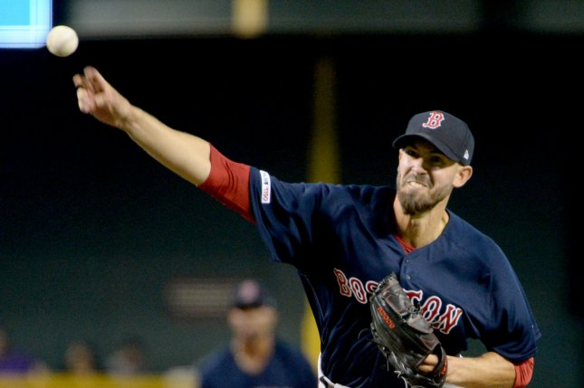 Boston Red Sox starting pitcher Rick Porcello was roughed up in Friday's 15-8 loss to the Arizona Diamondbacks, taking his anger out on a water cooler after being pulled from the game. File Photo by Art Foxall/UPI