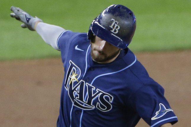 Tampa Bay Rays utility man Brandon Lowe (pictured) and left-fielder Austin Meadows each homered to spark a 6-3 win over the New York Yankees on Tuesday in New York City. Photo by John Angelillo/UPI