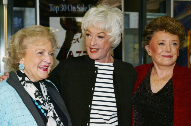 Actress Bea Arthur, seen in a November 22, 2005 file photo with Betty White (L) and Rue McClanahan (R) in New York City, died from cancer in Los Angeles at the age of 86 on April 25, 2009. (UPI Photo/Monika Graff/File)