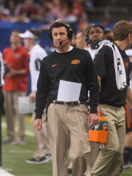 Mike Gundy and No. 10 Oklahoma State take on Texas on Saturday. Photo by Veronica Dominach/UPI