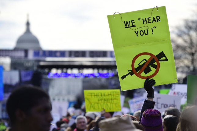 Protesters fill Pennsylvania Avenue in Washington, D.C., March 24 during the March for Our Lives rally -- at which tens of thousands demanded action to end gun violence. File Photo by David Tulis/UPI