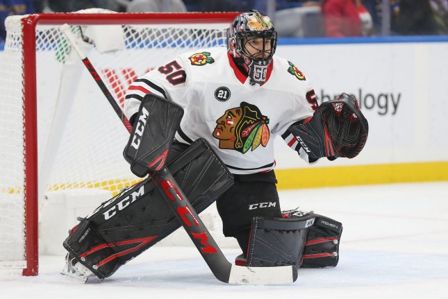 Corey Crawford and the Chicago Blackhawks square off with the Minnesota Wild on Thursday. Photo by Bill Greenblatt/UPI