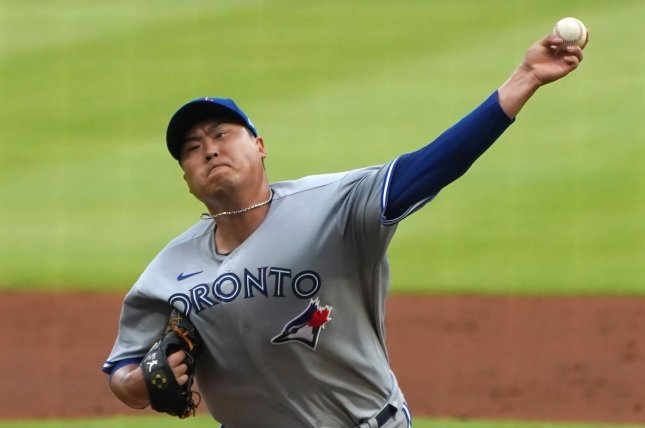 Toronto Blue Jays starting pitcher Hyun-Jin Ryu allowed just one hit in five innings to earn his first win of the season Wednesday in Atlanta. Photo by Tami Chappell/UPI