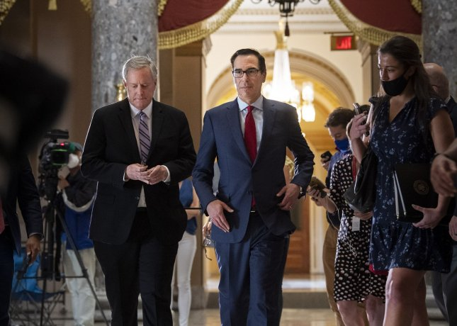 White House Chief of Staff Mark Meadows and Treasury Secretary Steven Mnuchin on Sunday sent a letter to Congress urging lawmakers to release $134 billion in unused Paycheck Protection Program funds as negotiations on another round of stimulus drag on. Photo by Kevin Dietsch/UPI