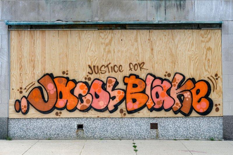 Following Jacob Blake being shot on Aug. 23, 2020, protests broke out in downtown Kenosha, Wis. Photo by Alex Wroblewski/UPI