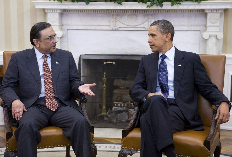 U.S. President Barack Obama meets with President Asif Ali Zardari of Pakistan in the Oval Office of the White House in Washington on January 14, 2011. UPI/Kristoffer Tripplaar/POOL