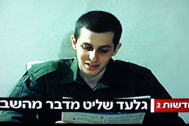 In this photo, taken from a video released by Hamas of kidnapped Israeli soldier Gilad Shalit reading a letter to his family on September 14, 2009. The video was released by the Hamas in Gaza in exchange for the release of 19 Palestinian women prisoners today, October 2, 2009. UPI/Debbie Hill