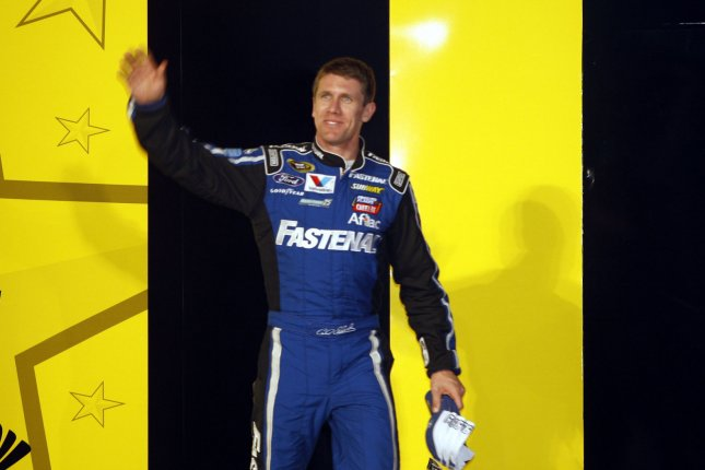 Driver Carl Edwards confirmed Wednesday he is leaving Joe Gibbs Racing immediately and will not compete in NASCAR in 2017, announcing he has no regrets and is lucky enough to be 100 percent healthy. File Photo by Nell Redmond/UPI