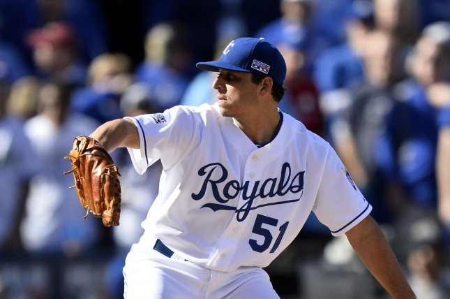 Kansas City Royals starting pitcher Jason Vargas throws a pitch. Vargas outdueled Giants ace Madison Bumgarner Wednesday night. File photo by Brian Kersey/UPI