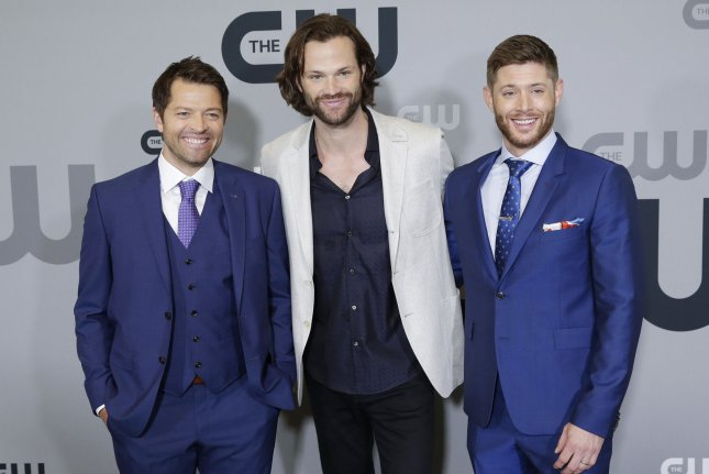 Jared Padalecki (C), pictured with Misha Collins (L) and Jensen Ackles, promised to do his best in Supernatural Season 15 as one of his New Year's resolutions. File Photo by John Angelillo/UPI