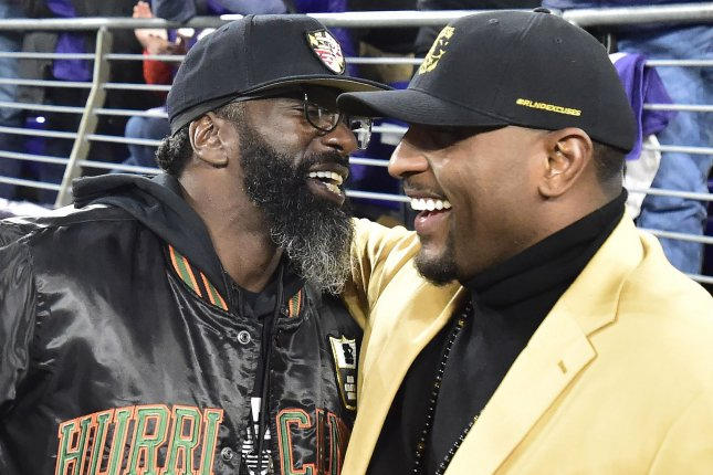Former Baltimore Ravens and Miami Hurricanes defensive back Ed Reed (L) was a member of the Hurricanes' 2001 national championship team. File Photo by David Tulis/UPI