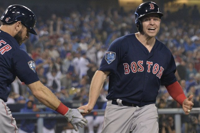 Brock Holt (R) hit .297 with three home runs and 31 RBIs in 87 games last season for the Boston Red Sox. File Photo by Jim Ruymen/UPI