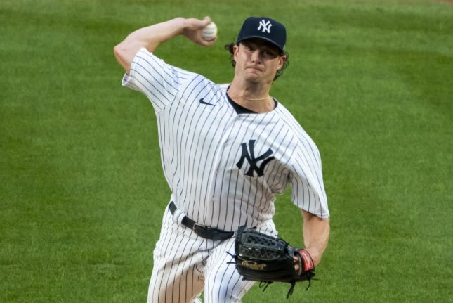 New York Yankees starting pitcher Gerrit Cole is now 3-0 this season after he beat the Philadelphia Phillies Monday at Yankee Stadium in New York City. Photo by Corey Sipkin/UPI