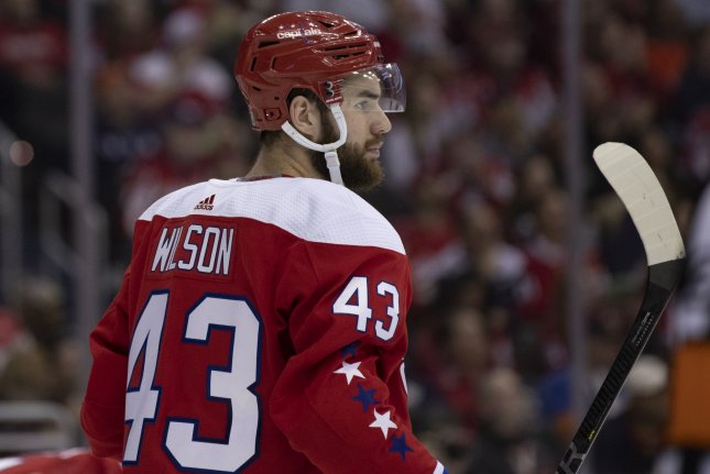Washington Capitals forward Tom Wilson, shown April 6, 2019, received a $5,000 fine for his antics during a game against the New York Rangers on Monday. File Photo by Alex Edelman/UPI