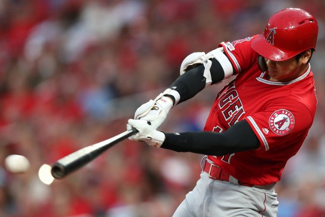 Los Angeles Angels designated hitter Shohei Ohtani, who leads MLB with 32 home runs, will be the first Japanese player to participate in the Home Run Derby. File Photo by Bill Greenblatt/UPI