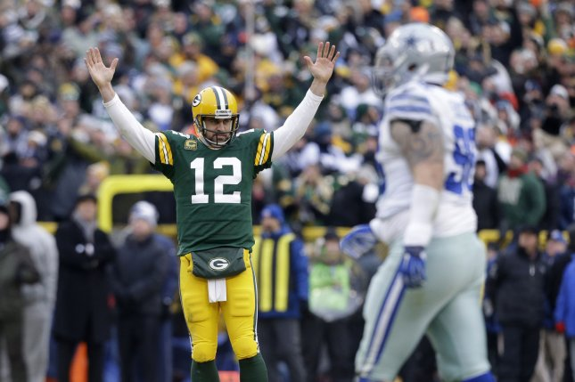 The Green Bay Packers and quarterback Aaron Rodgers visit the Dallas Cowboys and Dak Prescott in the 2017 NFC divsional playoff round. Photo by Jeffrey Phelps/UPI