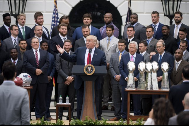 91c5f670302 President Donald Trump welcomes Super Bowl LI Champions the New England  Patriots to the White House Wednesday in Washington