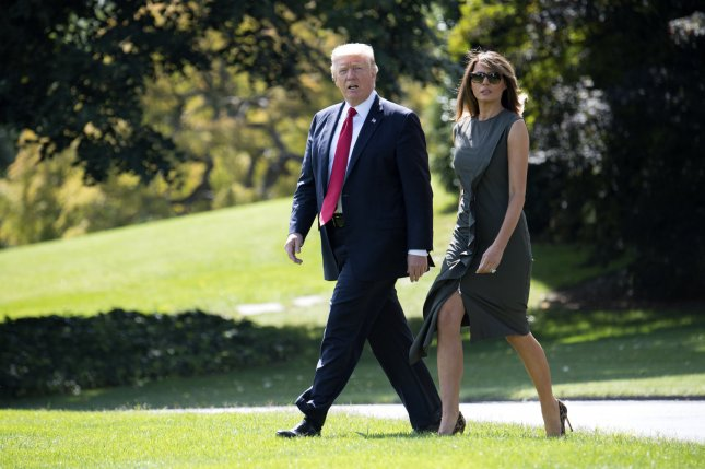 President Donald Trump and first lady Melania Trump depart the White House for Camp David, in Washington, D.C., on Friday. Photo by Kevin Dietsch/UPI