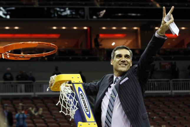 Villanova University head coach Jay Wright celebrates his team's win over the University of Kansas in the South Regional Championship of the 2016 NCAA Division I Men's Basketball Championship on March 26, 2016 at the KFC Yum! Center in Louisville, Kentucky. File photo by John Sommers II/UPI