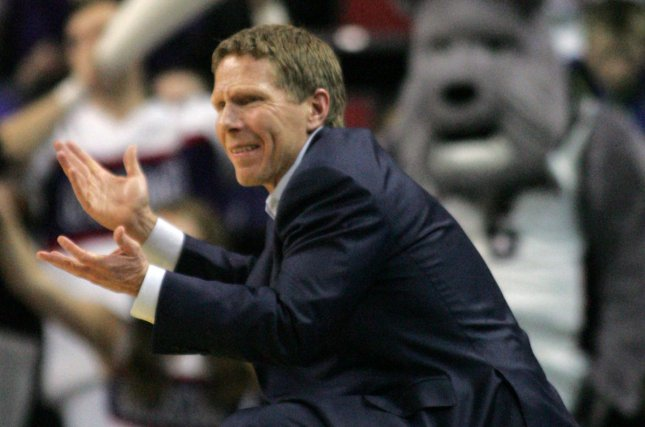 Coach Mark Few and third-ranked Gonzaga face Texas A&M on Thursday. Photo by Jim Bryant/UPI