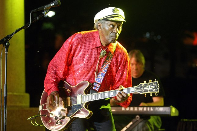 Rock and Roll legend Chuck Berry performs during a free concert in Kiener Plaza in St. Louis on July 29, 2010. On January 23, 1986, the first inductees into the Rock and Roll Hall of Fame included Berry, James Brown, Ray Charles, Fats Domino, the Everly Brothers, Buddy Holly, Jerry Lee Lewis and Elvis Presley. File Photo by Bill Greenblatt/UPI