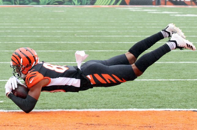 Cincinnati Bengals wide receiver Tyler Boyd had a breakout year in 2018 and earned a lucrative new contract this off-season. He is poised for a hot start in 2019 as fellow wide receiver A.J. Green is expected to miss several games due to injury. File Photo by John Sommers II/UPI