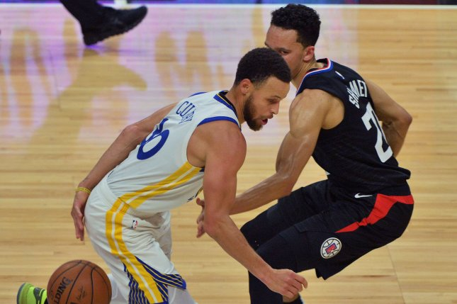 Golden State Warriors guard Stephen Curry (L) is widely-known as one of the best shooters in NBA history. Photo by Jim Ruymen/UPI