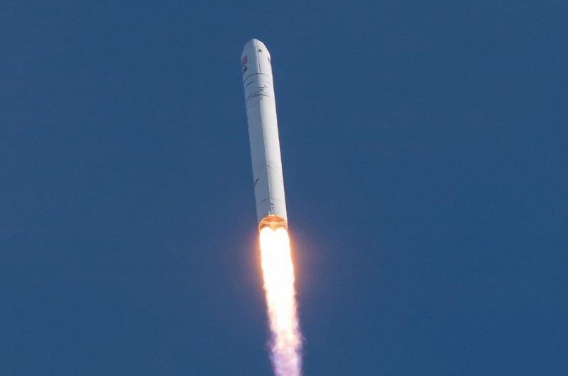 The Northrop Grumman Antares rocket, with Cygnus resupply spacecraft onboard, lifts off from NASA's Wallops Flight Facility in Virginia on Saturday afternoon. NASA Photo by Aubrey Gemignani/UPI