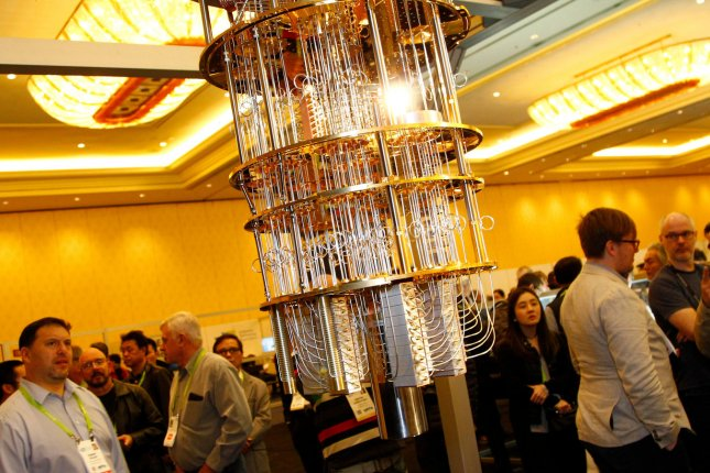 IBM's prototype quantum computer is on display at a 2018 trade show in Las Vegas. File Photo by James Atoa/UPI