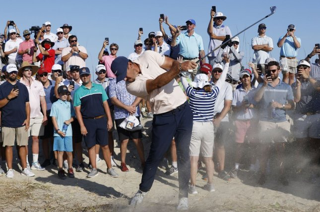 Brooks Koepka hits out of the rough on the 14th hole during the final round of the PGA Championship on Sunday on the Ocean Course at Kiawah Island in Kiawah Island, S.C. Photo by John Angelillo/UPI