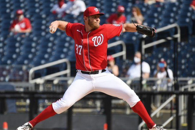 Washington Nationals starting pitcher Stephen Strasburg, shown April 7, 2021, has a 1-2 record and 4.57 ERA over five starts this season. File Photo by Pat Benic/UPI
