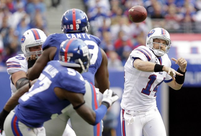 Buffalo Bills quarterback Ryan Fitzpatrick throws a pass in the fourth quarter against the New York Giants in week 6 of the NFL season at MetLife Stadium in East Rutherford, N.J., Oct. 16, 2011. The Giants defeated the Bills 27-24. UPI /John Angelillo