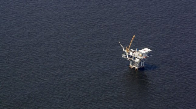 A production well is pictured on the Gulf of Mexico July 10, 2010. More than 35 million acres in the Gulf of Mexico went on the auction block in March. UPI/A.J. Sisco